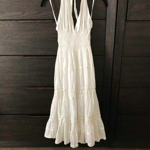 White Boho Halterneck Smocked Lace Dress, M, NWT